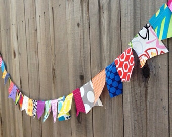 Multi-colored Scrappy Bunting // Designer Fabrics // Party and Home Decor