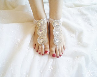 Rhinestone Wedding Shoes,  Barefoot Sandals, Bridal Accessories, bridal flats, Beach Accessories, Party Shoes, bridesmaid shoe