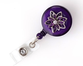 Petit Purple - Bling Badge Reels - ID Holders - Retractable Badge Reels - Stylish ID Badge Clips - Nurse Jewelry - RN Gift - BadgeBlooms