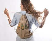geometric drawstring backpack summer backpack beach backpack trees backpack natural backpack beige and green drawstring backpack trees bag