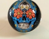 Skull Ring - Day of the Dead - Day of the Dead Ring - Skull Jewelry -  Sugar Skull - Sugar Skull Ring - Handmade Ring - Photo Ring