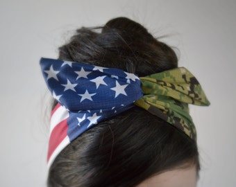 US Marpat bow, Digital Camo American headband,  Patriotic Dolly bow, Woodland American Flag head band, hair bow, A1