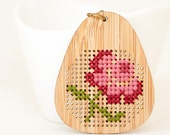 DIY Cross Stitch Necklace Kit - Bamboo with Antique Flower Pattern