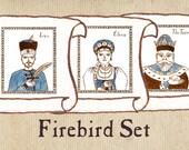 """Firebird Nursery Art - """"Ivan, the Wolf and the Firebird"""" Set of 3"""