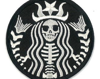 Starbucks Coffee Dead Barista Embroidered Patch ZOMBIE Skeleton Skull Horror Dia De Los Muertos Badge Applique