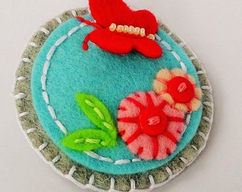 felt brooch with butterfly,  felt badge with butterfly, children brooch, children badge,felt pin