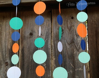 Rainbow Fish Paper Circle Garland- Teal, Aqua, Orange, Blue, White