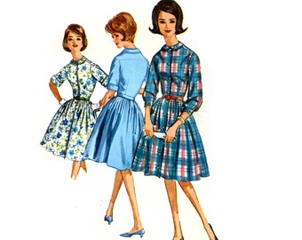 Simplicity 5232 Shirtwaist Dress Button Front Soft Pleat Skirt Size 16 Bust 36 Early 1960s Mad Men like dress Vintage Sewing Pattern