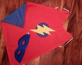 Super Hero Cape and Mask Set - Red and Blue - 18 month - 3 year old cape - toddler cape and mask