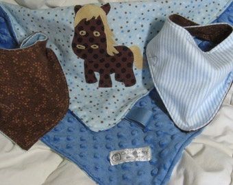 Baby boy gift set, small horse lovey with bandanna bibs, cowboy baby gift, soft minky blankie