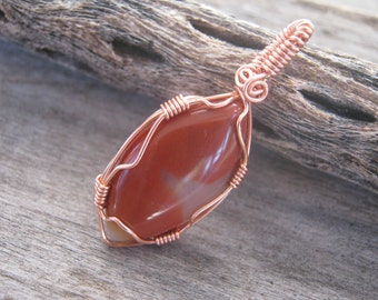 Carnelian Pendant, Wire Wrapped Gemstone, Sacral Chakra Pendant, Copper Pendant Jewelry READY To SHIP