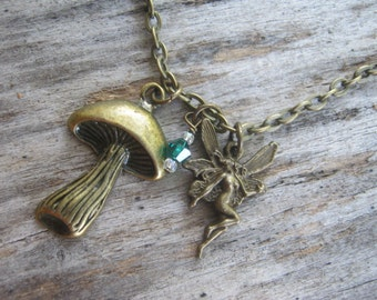 Woodland Mushroom Necklace, BRONZE, Fairy Necklace, Personalized Birthstone Jewelry, Faerie, Forest, 24 inches Choose Your Length