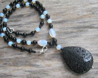 Lava Stone Necklace, Opalite Necklace, Agate Necklace, Black & White Teardrop Necklace, Beaded, Moonstone Opal, READY To SHIP