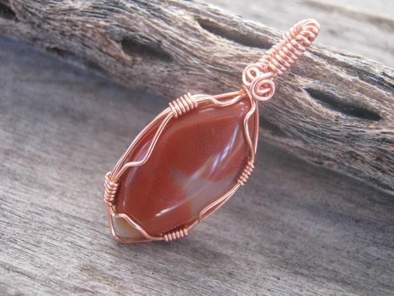 Carnelian Pendant, Wire Wrapped Gemstone, Sacral Chakra Pendant, Copper Pendant Jewelry READY To SHIP