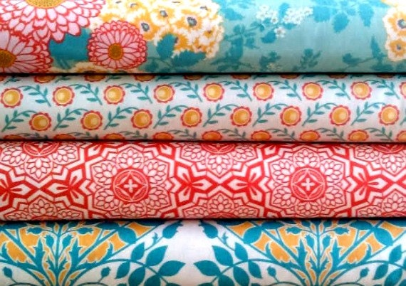 Joel Dewberry Fabric - 4 Fat Quarter Bundle Botanique - Golden Hour Palette (Red/Orange & Teal) ships from Australia