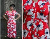 70's Red Daisy Floral V Neck Maxi Dress Size 10 Size 12