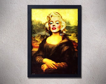 Marilyn monroe,mona lisa,poster,digital print,art,iconic,yellow,original,vintage,retro,funny,CHRISTMAS