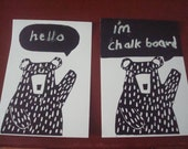 lino print bear with Chalk board bubble, note cards