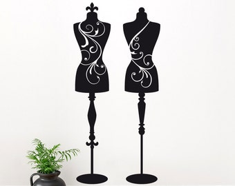 2 Mannequin Wall Decals: Dress Forms, Sewing Room Decor, Bedroom Decor, Vinyl Wall Sticker