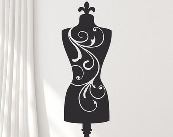 Full Size Mannequin Wall Decal: Dress Form, Sewing Room Decor, Bedroom Decor, Vinyl Wall Sticker