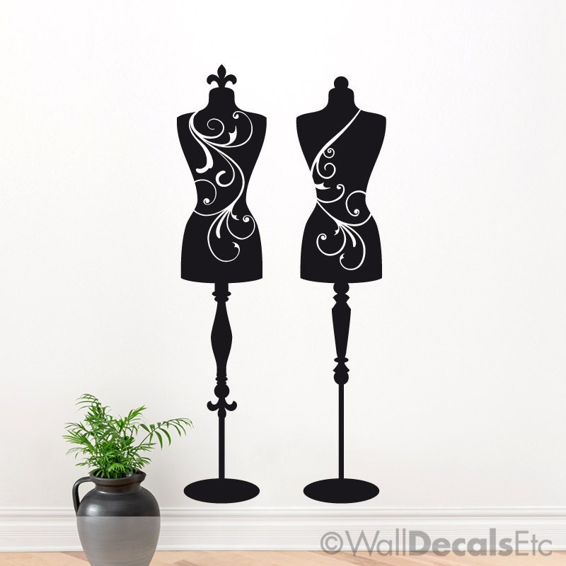 2 Mannequin Wall Decals Dress Forms Sewing Room Decor