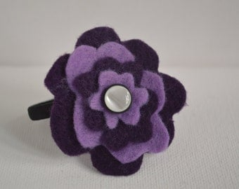 Purple Felt Flower Ponytail Holder