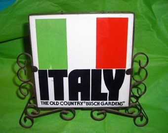 Italian NIght At The  Joneses.....Ceramic Tile and Wrought Iron Napkin Holder....Souvenir Busch Gardens .....NP1