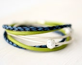 Leather Wrap Bracelet - Ocean Blue, Mint &  Woodland Green Leather with Hypoallergenic Silver Beads