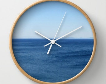 Aegean Sea wall clock, ocean, sea, aqua, azure, water, summer, blue, sky, horizon, spa, simple, minimal, breezy, crisp, Greek island, travel