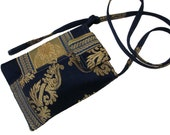 114- small bag, purse, color blue and yellow gold , handmade