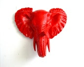 RED Small Faux Taxidermy Elephant Head Wall Hanging wall mount home decor mini animal head faux taxidermie red wall decor kids room decor
