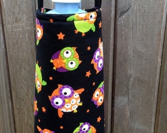 Water Bottle Carrier/Sling (Adjustable Strap) OWL Fabric, insulated