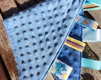 Ribbon Burpie / Minky Burp Cloth: BLUE Color Scheme, Personalization Available