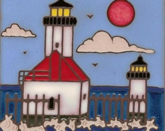 Lighthouse St Joseph , Michigan hand painted tile