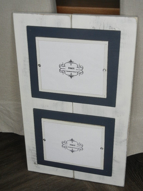 wood plank handmade double 8x10 picture frame aged white wash finish with double wood mats