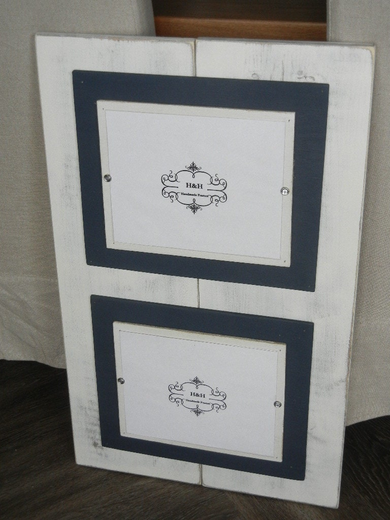 Wood Plank Handmade Double 8x10 Picture Frame Aged White