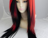 Cherry Red and Black / Long Straight Layered Wig Halloween Costumes, Adult Costume, Cosplay, Durable for daily use