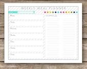 Printable Weekly Meal Planner & Shopping List Worksheet - Week At A Glance