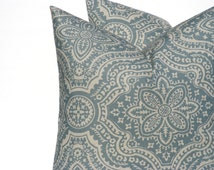 Blue Pillow. Blue Tan Pillow. Taupe Pillow. Paisley. ONE 26x26 Euro pillow Cover Linen. Printed fabric both sides light Blue Cushion cover