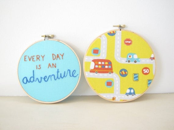 Embroidery Hoop Wall Art Set Home Decor -  Every Day is an Adventure kids room boys nursery orange yellow aqua cars inspirational whimsical