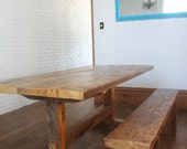 reclaimed barn board harvest table with trestle base and mortise and tenon joinery
