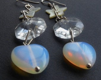 Heart and Stars Opalite Dangle Earrings. Sea opal, crystal and star button earrings, bridal earrings