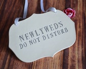 Silver Newlyweds Do Not Disturb Wedding Sign to Hang on Door and Use as Photo Prop - Available in more colors