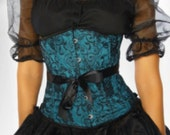 Teal satin and black lace underbust corset