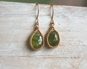 Olive Green Vesuvianite Gemstone Drop Earrings -  Gold Dangle Earrings - Rustic Wire Wrapped Earrings - Handmade Jewelry