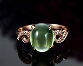 Engagement Ring -  3.6 Carat Prehnite Engagement Ring With Diamonds In 14K Rose Gold