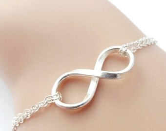 Silver Infinity Bracelet Infinity Jewelry Bridesmaid Gift Bridesmaids Bracelet Wedding Jewelry, Sterling & Fine Silver, Friend, Sister,Mom