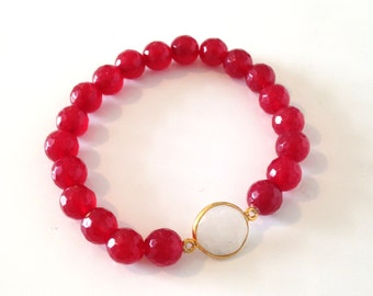 Faceted Cranberry Moonstone Bracelet