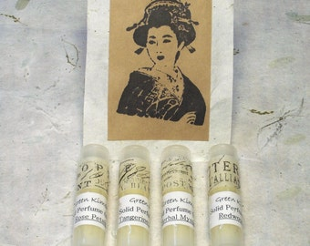 Solid Perfume Sampler --Set of 4 sample size scents-Gift set