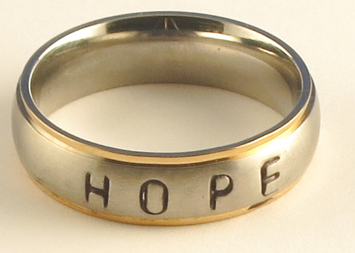 HOPE Stainless Steel Gold Tone Edge Comfort Fit Name Ring 6mm